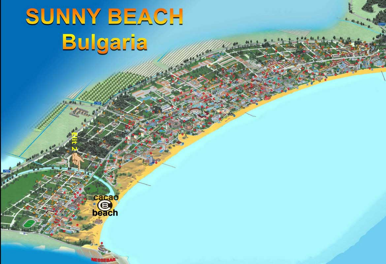 Map-Sunny-Beach Местонахождение - Апарт Отель Елит 2 Солнечный берег Карта отелей Солнечный берег Болгария
